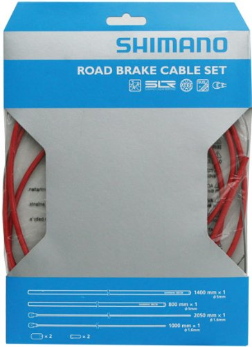 - SHIMANO PTFE Road Brake Cable and Housing Set (Red)
