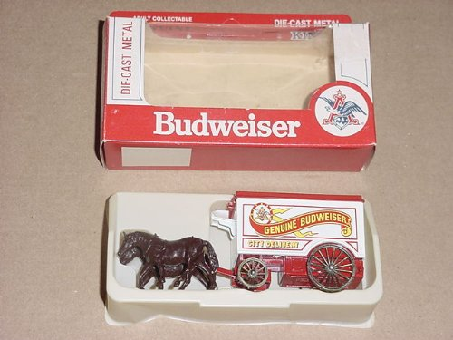 budweiser-die-cast-metal-horse-drawn-delivery-wagonwhite-with-horse-figure