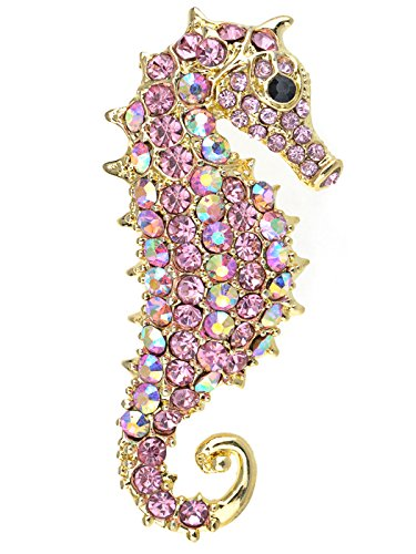 (Alilang Aurora Borealis Crystal Rhinestone Seahorse Fish Convertible to Pendant Animal Brooch Pin, Pink)