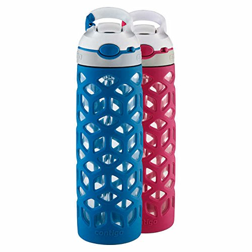 Contigo Ashland 20 oz. Glass Water Bottle, 2-pack, Dark Blue/Pink