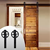 LWZH 9FT Sliding Barn Door Hardware Kit for Single Door Sliding Interior Door Track Set( Black J Shaped with Big Rollers)
