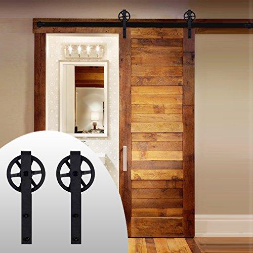 LWZH 9FT Sliding Barn Door Hardware Kit for Single Door Sliding Interior Door Track Set( Black J Shaped with Big Rollers) by LWZH