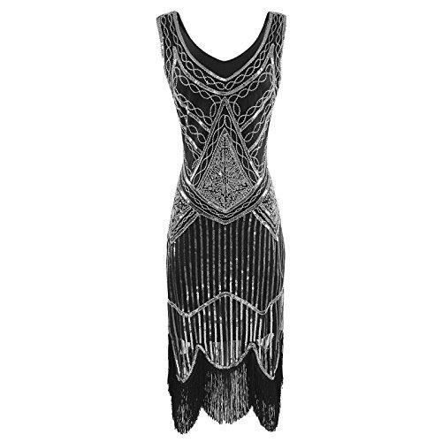 Wedding Dress For Halloween Costume (Heroecol Vintage 1920s Dress Sequined Beaded Tassels Flapper Gatsy Style L SL)