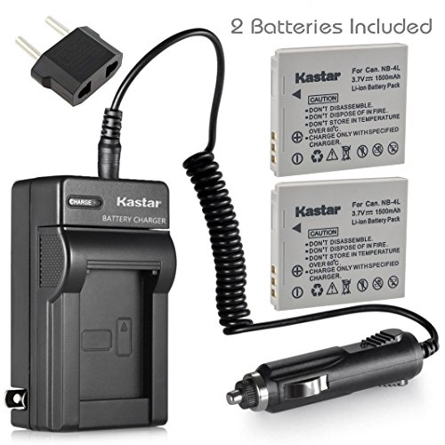 Kastar Charger + 2 Battery for Canon NB-4L NB4L and PowerShot SD300 SD400 SD450 TX1 SD750 SD1000 Cameras ()