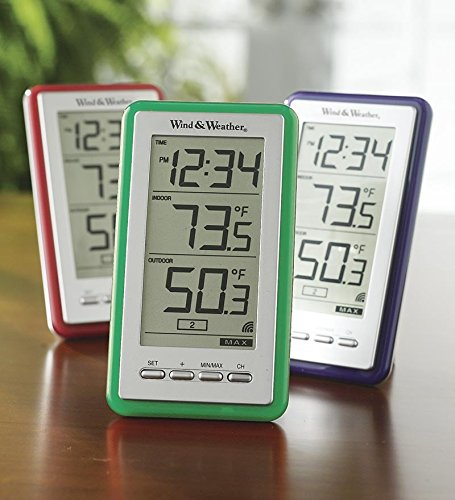 La Crosse Technology Large-Digit Indoor/Outdoor Color Spot Thermometer and Clock, in Red