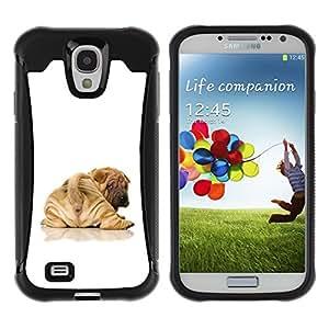 ZETECH CASES / Samsung Galaxy S4 I9500 / PUPPY SHAR PEI TAIL BROWN WRINKLES / perrito shar pei cola de color marrón arrugas / Robusto Caso Carcaso Billetera Shell Armor Funda Case Cover Slim