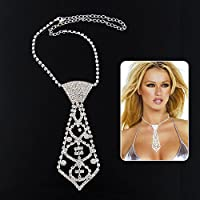by lucky Charm Sexy Fashion Crystal Rhinestone Neck Tie Necklace for Prom Ball Party