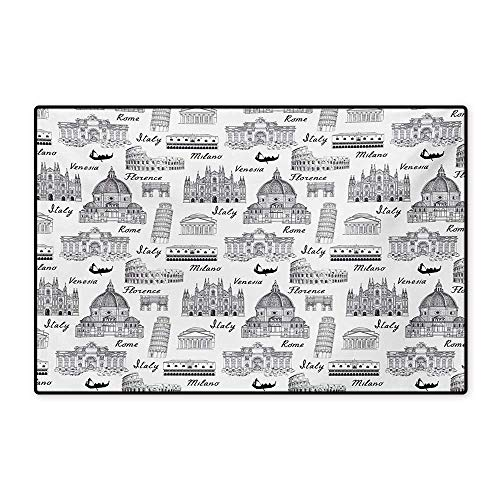 Mat Milano (City Door Mat Small Rug Monochrome Sketch Style Famous Places from Italy Rome Milano European Architecture Bath Mat for Bathroom Mat 16