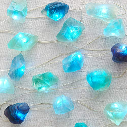 MIYA LIFE Plus Natural Fluorite Sea Glass Raw Stones LED String Lights 6.5ft 20 Lights with Remote for Indoor Outdoor Tent Wedding Anniversary Birthday Decor Present Bedroom Christmas Party -