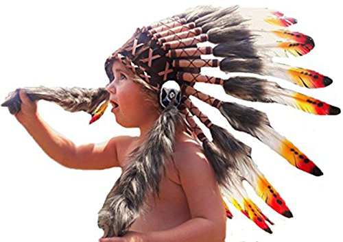 Indian headdress for 2 to 5 year old kid / children , hat , Feather headdress (Feathered Headdress)