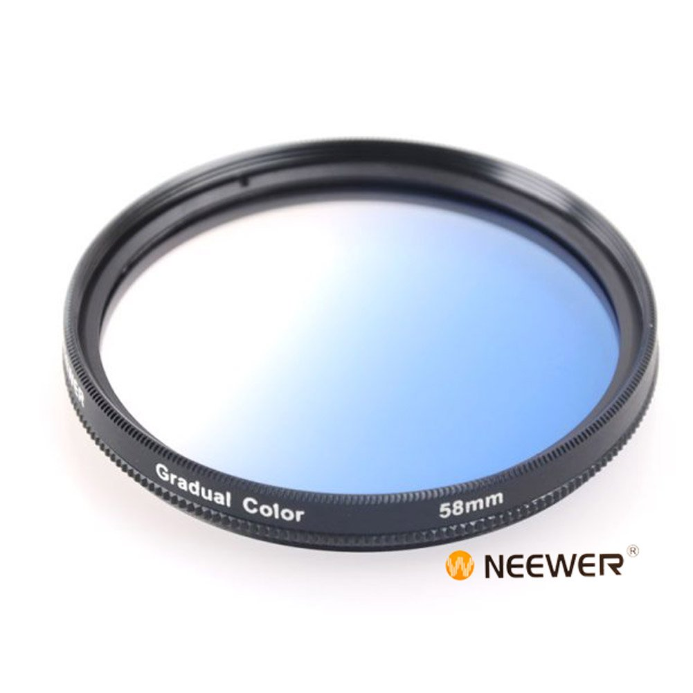 Neewer 58MM Gradual Color Blue Blending Lens Filter for ANY Camera Lens with 58MM Filter Thread 10000385@@##100