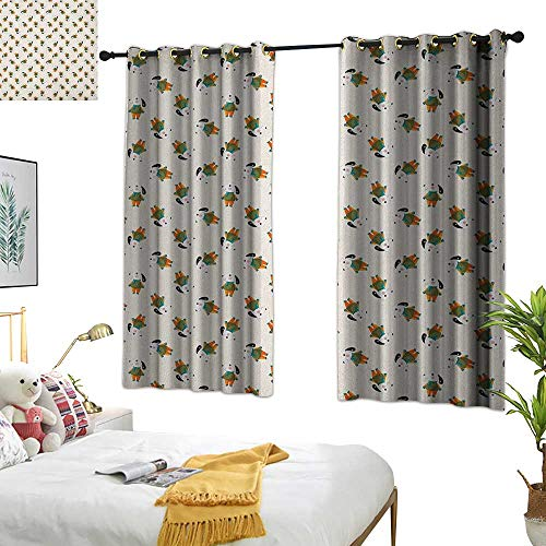 Warm Family lace Curtains Dog,Cartoonish Beagle Puppy Motif with Winter Attire Cute Little Animal with Human Clothing, Multicolor 54x63,Print Room Darkening Living Room Curtain