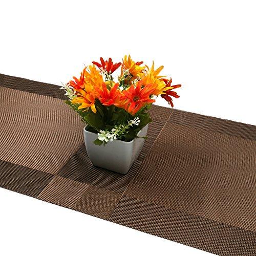 Compatible Placemats table runner,U'artlines 1 piece Crossweave Woven Vinyl Table Runner Washable 30x180cm (Brown, Table runner) by U'Artlines (Image #5)