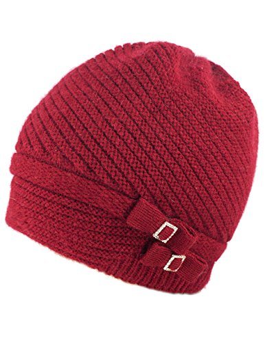 Dahlia Women's Angora Beanie Hat Rhinestone Square Double Bow Dual Layer Red