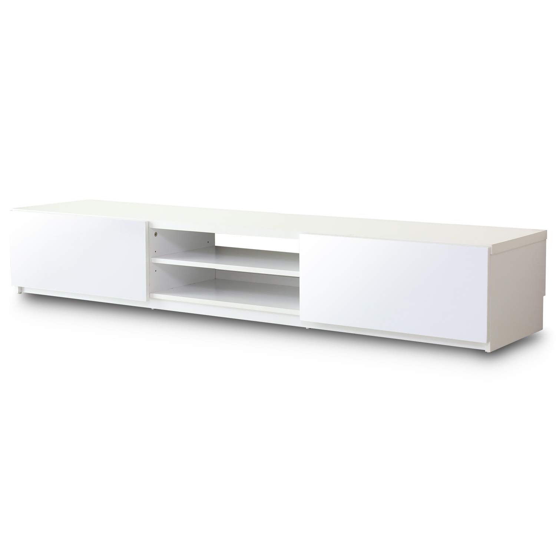 DORIS テレビ台 ローボード 幅180cm TVボード 75型対応 背面収納 鏡のような光沢のある前面鏡面仕上げの引き出し収納 組立式 ホワイト ルクス180 B07MX9FRTR ホワイト 幅180cm