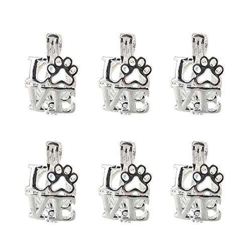 5x Silver Love Dog Paw Pearl Cage Pendant For Essential Oil Diffuser Necklace