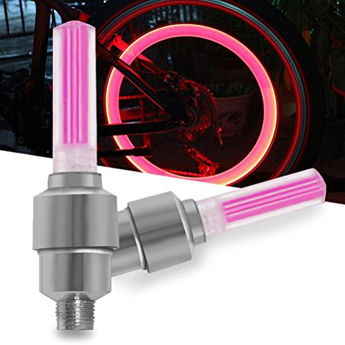 JUST MODE 2 Pcs Bicycle Valve Cap Lights, LED Flash Tyre Wheel Light for Car Bike Motorcycle, Hot Pink (Glowing Bicycle Wheels)