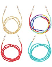 SEVENSTONE 4PCS Colorful Beaded Glasses Chain Face Mask Strap Eyeglass Eyewear Retainer Lanyard Necklace Holder Around Neck