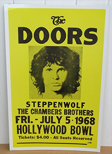 The Doors Concert Poster - Doors Jim Morrison Concert Poster 1968 Hollywood Bowl, California