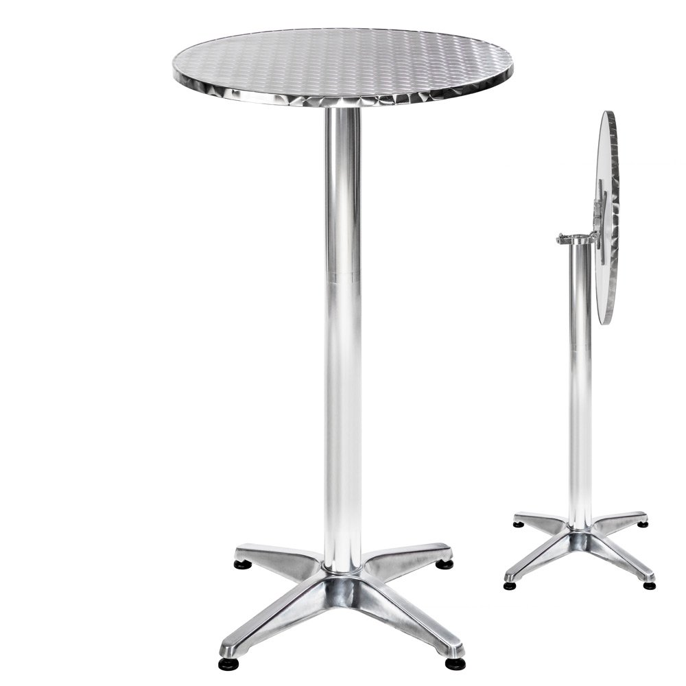 """TecTake Round bar bistro table aluminium 2 adjustable heigts Ø 60cm - different models - (""""Alexander"""" foldable 