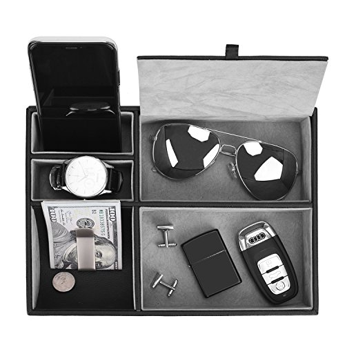 Valet Tray, 5 Compartments PU Leather Dresser Valet Organizer for Watches and Jewelry by Juns (Image #4)