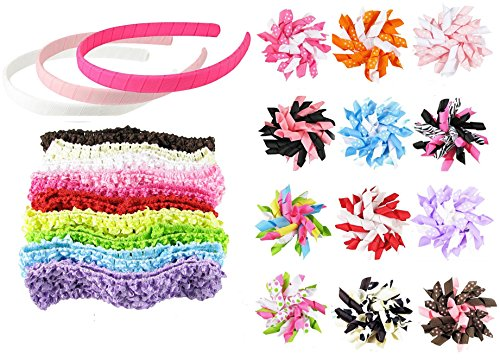 hipgirl 25pc christmas, birthday gift basket. korker hair bow clips, crochet headbands, ribbon wrapped headbands