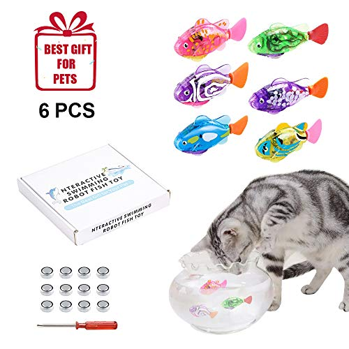 【2019 New】 Interactive Swimming Robot Fish Toy for Cat and Dog with LED Lights, Auto Swimming Electric Fish in The Water Stimulate Your Pet Hunter Instincts-The Best Gift for Pets (6 Pcs) (Best Electric Screwdriver 2019)