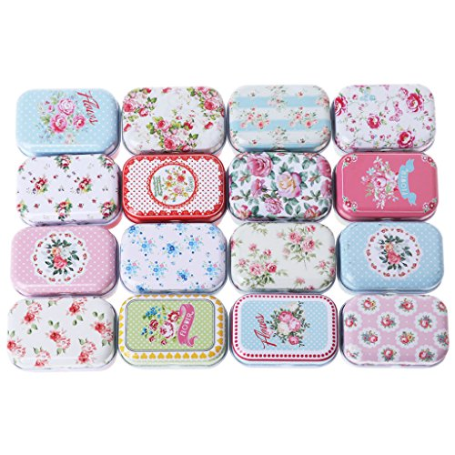 Flower Tin Trinket Jewelry Coin Box Tinplate Storage Case ()