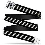 "Automotive : Buckle-Down Seatbelt Belt - Vintage CHEVROLET Bowtie 3-Stripe Black/Ivory (1934 logo) - 1.0"" Wide - 20-36 Inches in Length"