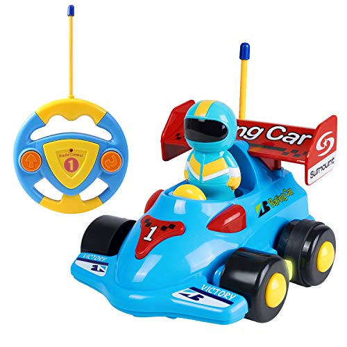 SGILE RC Cartoon Race Car, Remote Control Cartoon Car for Toddlers Baby Kids Child with Music Radio, Kids Birthday Gift Present, Blue
