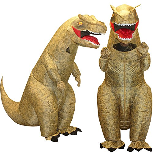 [Morphsuits Men's Giant T-Rex Inflatable Costume, Brown, One Size] (Make A Last Minute Halloween Costume)