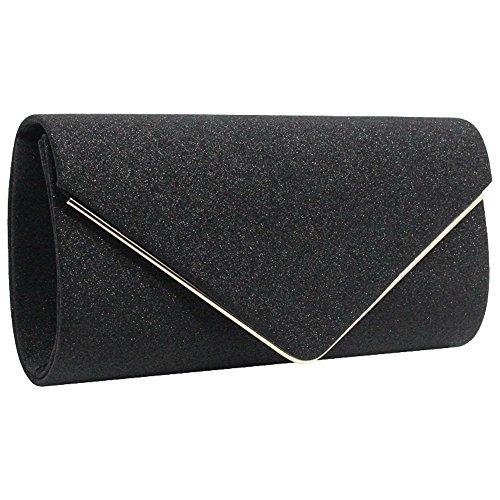 Black Envelope Clutch New Shoulder Cckuu Faux Purse Party Evening Gold Suede Womens Bag wd7dqfI