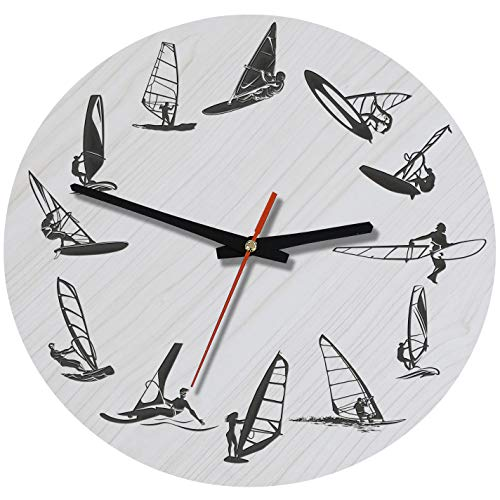 e 12-Inch Wood Silent Battery Operated Windsurfing Wall Clocks ()