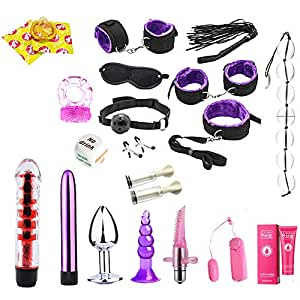 Juguetes Sexuels conjunto 21pcs Vibrador esposas máscara tapones ...