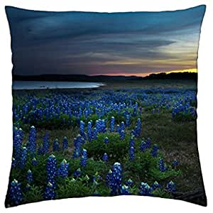 Blue Flowers - Throw Pillow Cover Case (18