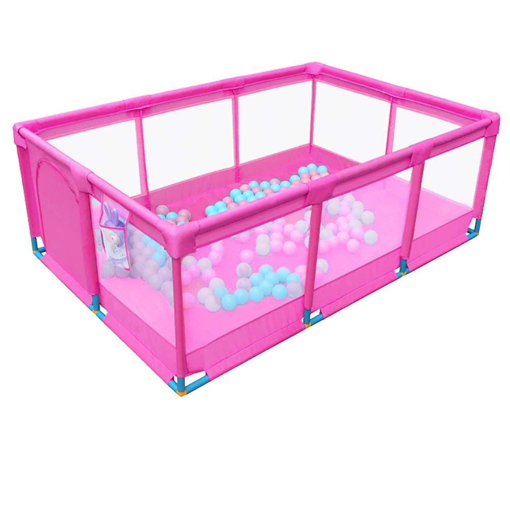 -ベビーサークル 携帯用赤ん坊の幼児のピンクのPlayard、ドアが付いている大きい反衝突の綿覆いの塀 (色 : Large, サイズ さいず : Fence+200ball) Fence+200ball Large B07PC3CZXT