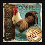 Morning Coffee by Conrad Knutsen French Rooster 13.5x13.5 Framed Art Print Picture Wall Decor