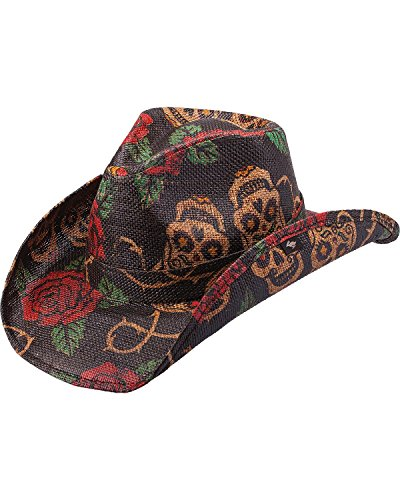 Skull Cowboy Hat (Peter Grimm Ltd Unisex Tainted Love Straw Cowboy Hat Tea One Size)
