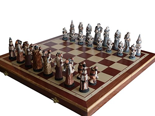 Solid wood, Inlaid Wood & Marble, Fantasy Chess (Inlaid Marble)