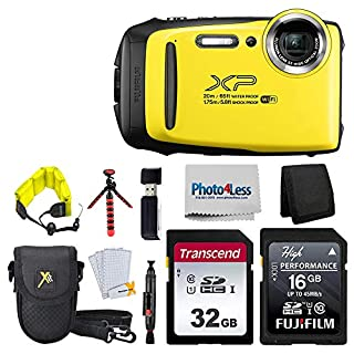 """Fujifilm FinePix XP140 Digital Camera (Yellow) + 48GB SD Card + Floating Strap + Cleaning System + 12"""" Flexible Tripod + Screen Protectors + SD Card Reader + Memory Card Wallet + Camera Case"""