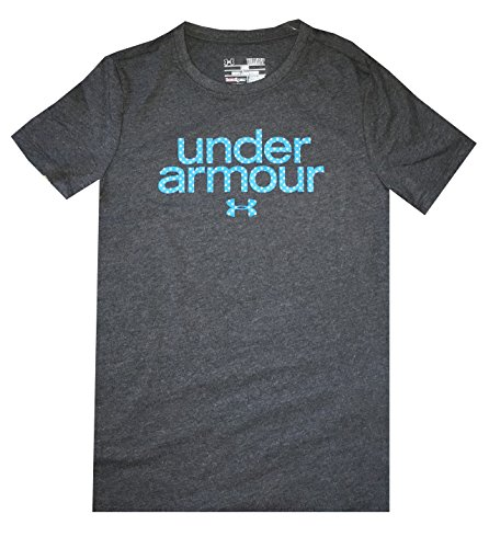 Under Armour Girls Youth Charged Cotton Dots Logo T-Shirt (Youth small, Dark grey)