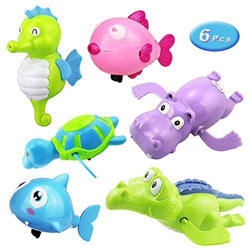 6 Pcs Floating Wind-up Bath Water Toys for Kids and Toddlers, Sea Animal Bath Toy Turtle Hippo Crocodile Hippocampus Fish, Bathtub Playset Clockwork Play Toy Kid Educational Water Toys ()