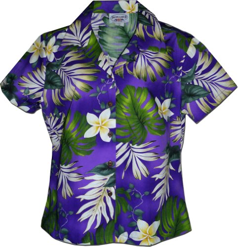 Tropical Monstera Ladies Hawaiian Shirts in Purple S