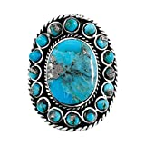 Sterling Silver 925 Genuine Turquoise & Pyrite-Infused Matrix Ring (8)