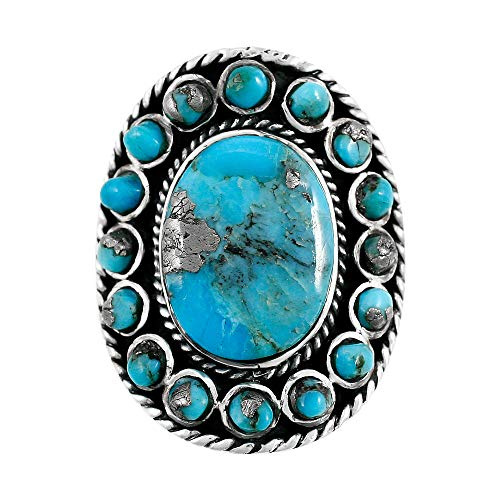 Sterling Silver 925 Genuine Turquoise & Pyrite-Infused Matrix Ring ()
