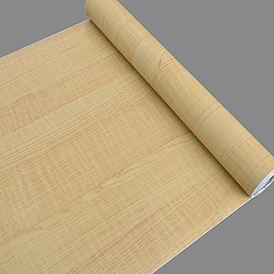 SimpleLife4U Light Yellow Wood Textured Wallpaper Peel & Stick Vinyl Locker Door Sticker 17.7 Inch by 32.8 Feet