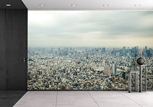 wall26 - Tokyo Bird Eye View - Removable Wall Mural | Self-adhesive Large Wallpaper - 66x96 inches (Birdseye View Business)
