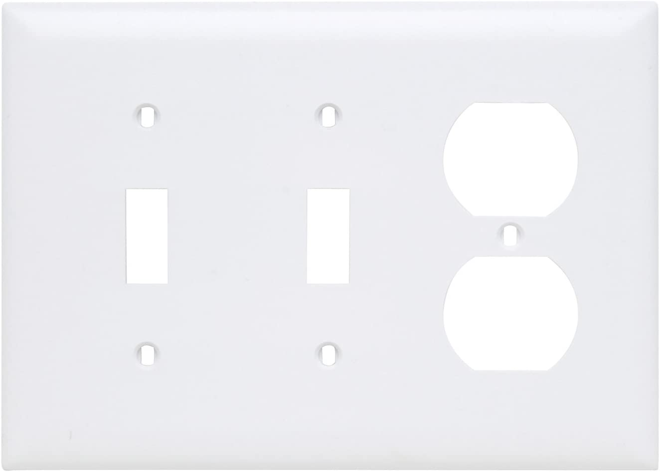 Legrand - Pass & Seymour TP28WCC12 Combination Opening Nylon Wall Plate, Two Toggle, One Duplex, Three Gang, White