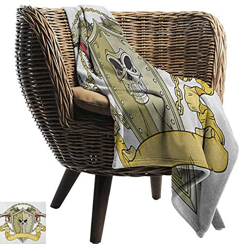 warmfamily Super Soft Blankets Dragon Skull Figure on Knights Shield with Dragon Heads and Scroll Medieval Warrior Myth All Season Light Weight Living Room60 Wx60 L