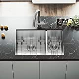 VIGO VG15182 All in One Undermount Double Bowl Kitchen Sink and Faucet Set, 29-Inch, Stainless Steel